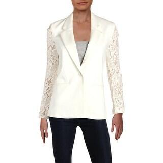 Aqua Womens One-Button Blazer Lace Sleeves Professional
