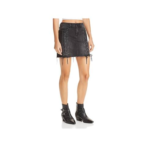 Blank NYC Womens Denim Skirt Lace-Up Mini