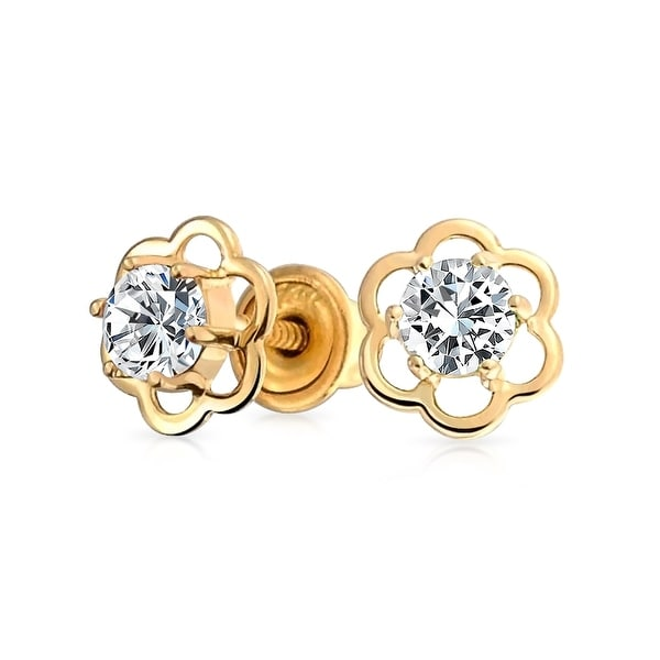 4192465ad Minimalist Tiny CZ Open Flower Stud Earrings For Teen For Women Cubic  Zirconia 14K Real Gold
