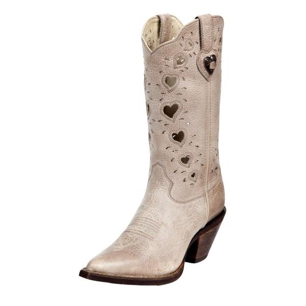 "Durango Western Boots Womens 11"" Crush Heartfelt Pull Taupe"