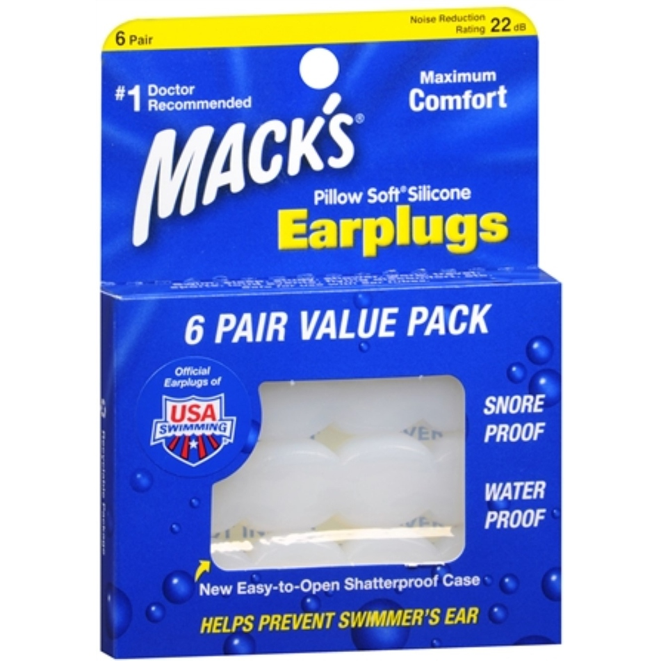 Mack's Pillow Soft Earplugs White 6 Pairs (4 options available)