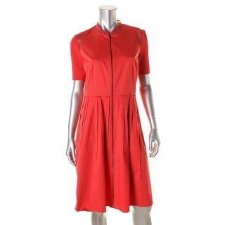 Elie Tahari Womens Rudy Mesh Trim Poplin Wear to Work Dress - 10