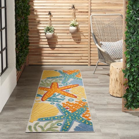 Nourison Aloha Coastal Beach Theme Starfish Indoor/Outdoor Area Rug