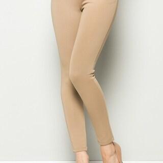 Tan Mid Rise Zipper Skinny Pants