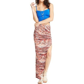 Material Girl Womens Maxi Skirt Printed Ruched