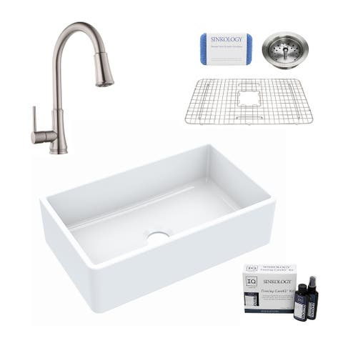 Turner All-in-One Farmhouse Apron Front Fireclay 30 in. Single Bowl Kitchen Sink with Pfister Pfirst Faucet and Drain