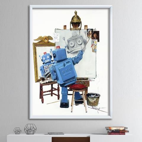 Designart 'Robot Selfie' Modern & Contemporary Framed Art Print