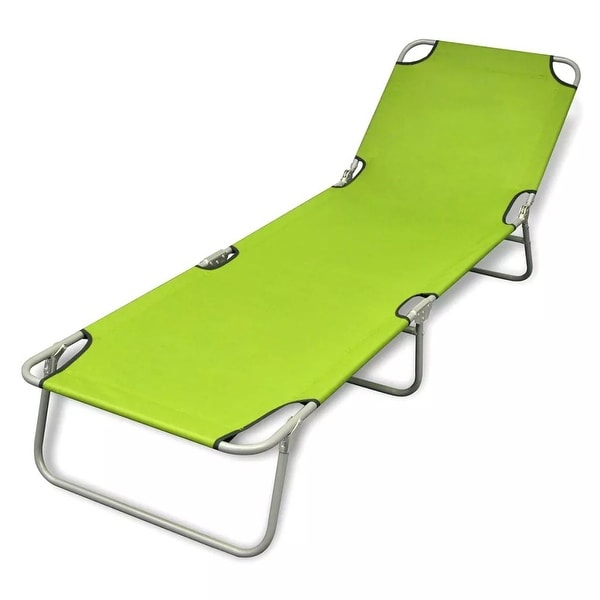 "vidaXL Folding Sun Lounger Powder-coated Steel Apple Green - 74.4"" x 22.8"" x 10.6"""