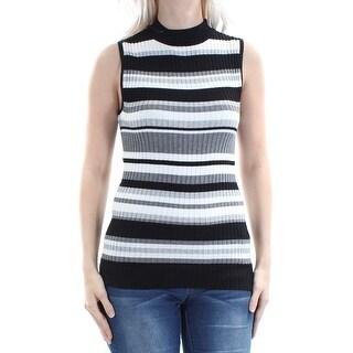 Womens Black Striped Sleeveless Turtle Neck Top Size S