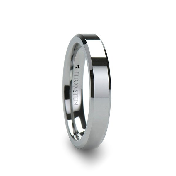 THORSTEN - ROMA Womens Beveled Tungsten Carbide Wedding Ring - 4mm