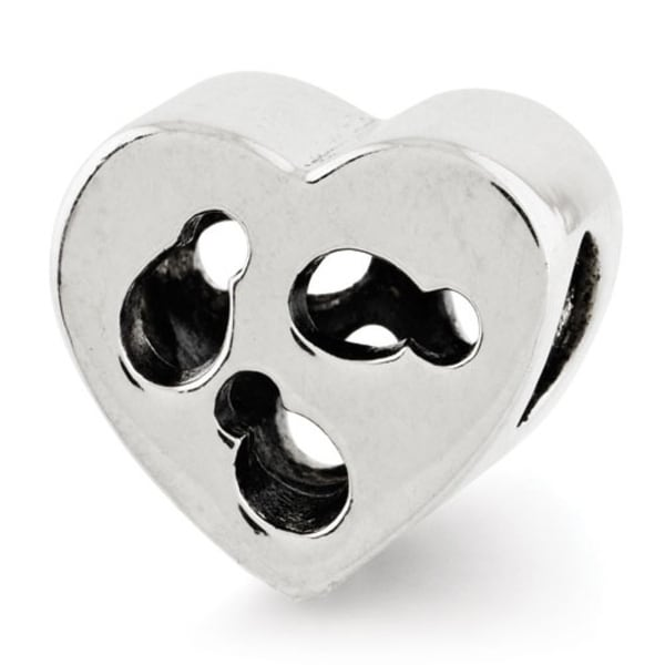 Sterling Silver Reflections Kids Cut-out Heart Bead (4mm Diameter Hole)