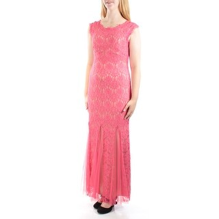 Womens Coral Floral Sleeveless Full Length Mermaid Formal Dress Size: 10