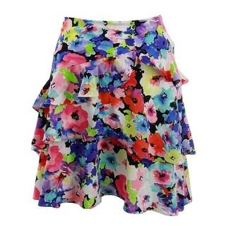 Lauren Ralph Lauren Womens A-Line Skirt Floral Print Ruffled