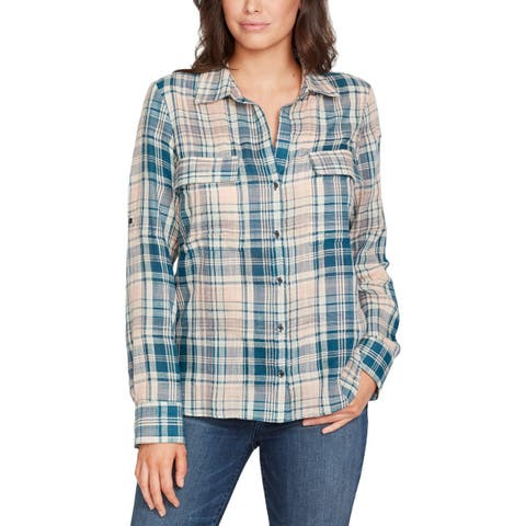 William Rast Womens Button-Down Top Plaid Collared - S