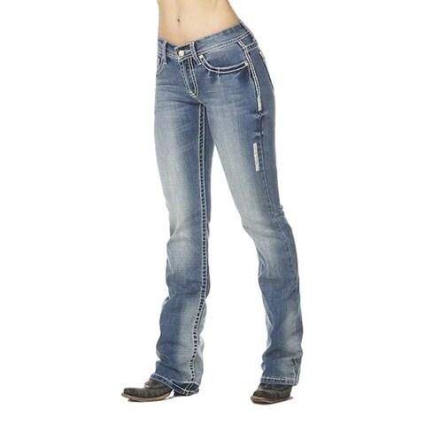 Cowgirl Up Denim Jeans Womens Bootcut Light Stonewash