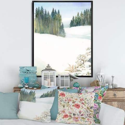 Designart 'Pine Forest In Snowy Winter Landscape' Traditional Framed Canvas Wall Art Print
