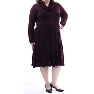 Womens Burgundy Long Sleeve Knee Length Fit + Flare Dress Size: 1X