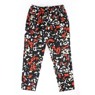 Calvin Klein NEW Black Red Womens Size Large L Printed Drawstring Pants