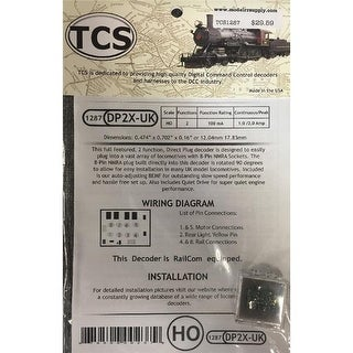 Train Control Systems TCS1287 2 Function DCC Decoder - 8 Pin