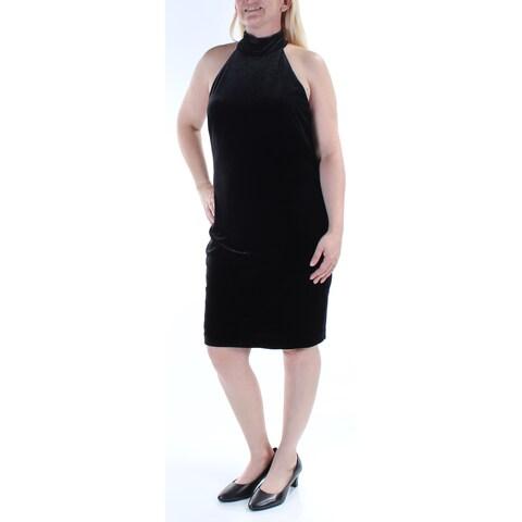 Womens Black Sleeveless Knee Length Wear To Work Dress Size: 14