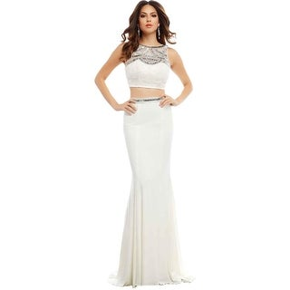 Mac Duggal Womens Embroidered Embellished Crop Top Dress