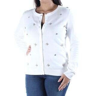 Womens Ivory Long Sleeve V Neck Sweater Size XS