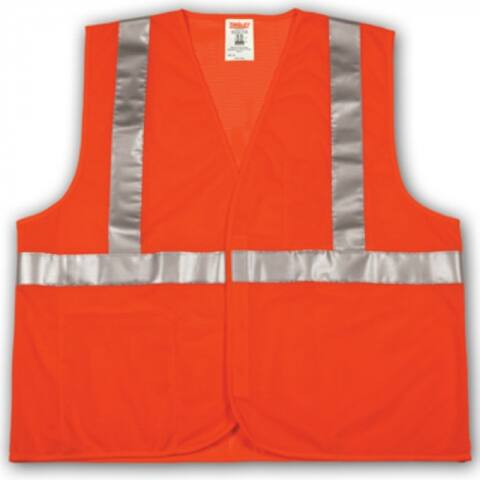 Tingley V70629-2X-3X Job Sight Hi-Vis Safety Vest, 2XL/3XL, Fluorescent Orange