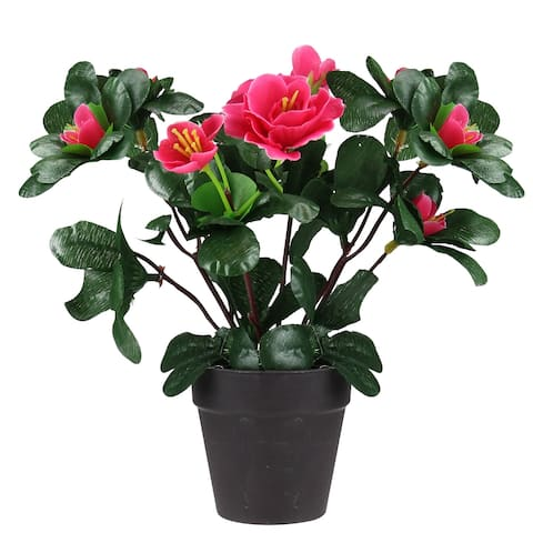 """7.5"""" Pink Potted Artificial Spring Rose Plant"""