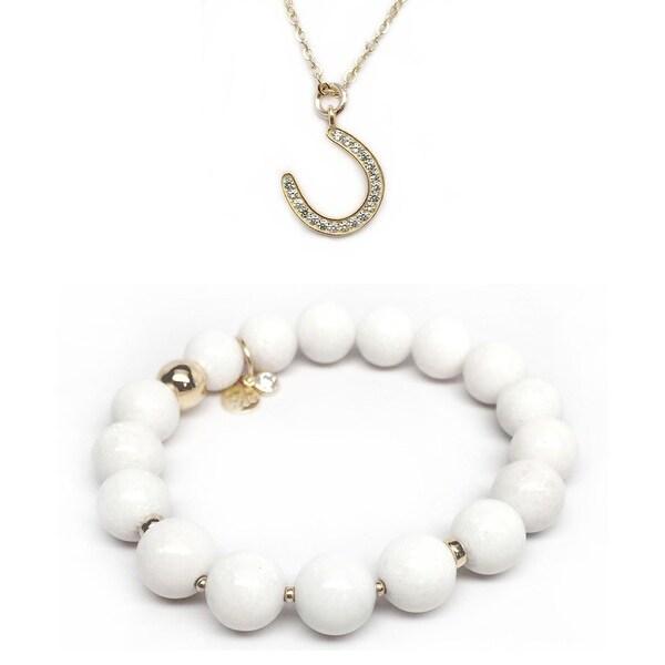 White Jade Bracelet & CZ Horseshoe Gold Charm Necklace Set