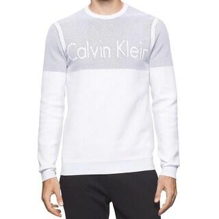 Calvin Klein NEW White Mens Size Large L Slim Fit Crewneck Logo Sweater