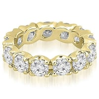 14K Yellow Gold 3.40 ct.tw Round Cut Diamond Fishtail Eternity Ring HI, SI1-2