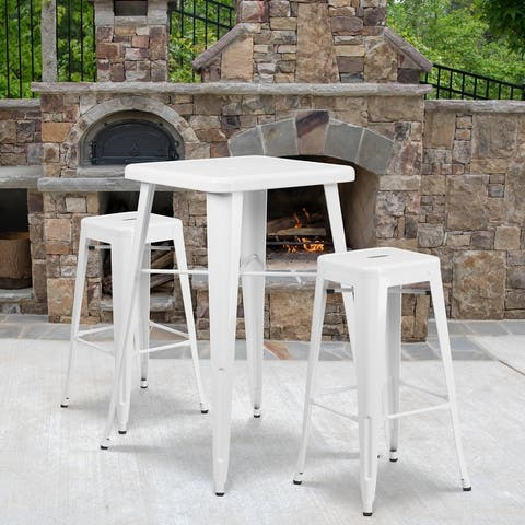 "23.75'' Square Metal Indoor-Outdoor Bar Table Set with 2 Square Seat Stools - 27.75""W x 27.75""D x 40""H"