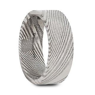 LORD Damascus Steel Flat Brushed Men's Wedding Band with Alternating Carved Pattern - 6mm