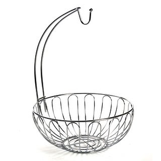 Home District Wire Fruit Basket with Banana Hanger - Chrome Finish Countertop Food Storage Bowl with Hook
