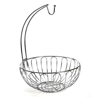 Home District Wire Fruit Basket with Banana Hanger - Countertop Food Storage Bowl with Hook - metal