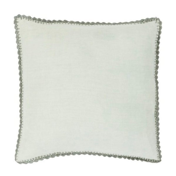 "20"" Solid Sage Green with Elephant Gray Trim Woven Decorative Throw Pillow"