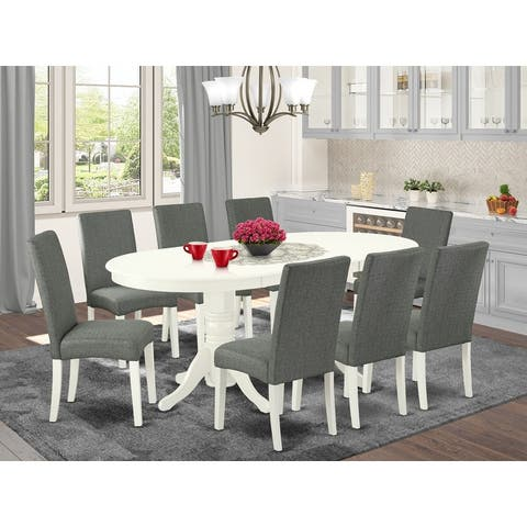 Oval 59/76.4 Inch Table and Parson Chairs in Gray Linen Fabric - Linen White Finish (Number of Chairs Option)