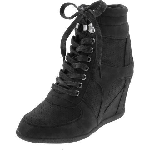 Static Footwear Women's Dakota-08 High Top Hidden Wedge Fashion Sneakers - Black