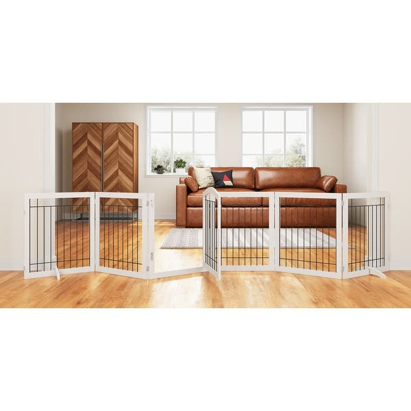 Shop Pawland 144 Inch Extra Wide 30 Inches Tall Dog Gate With Door Walk Through Freestanding Pet Pen Support Feet Included Overstock 31664459