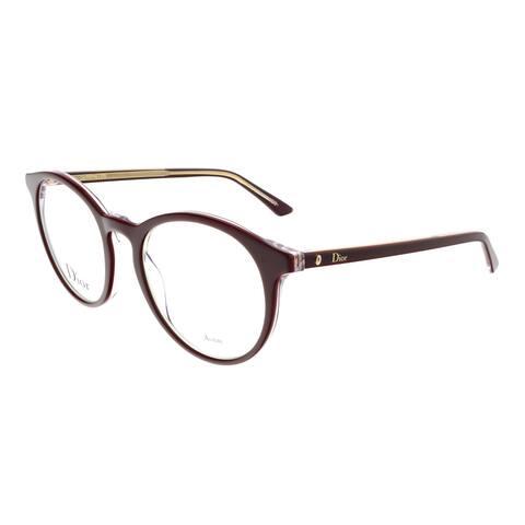 DIOR MONTAIGNE15 Burgundy Crystal Round Eyeglasses - 50-19-140
