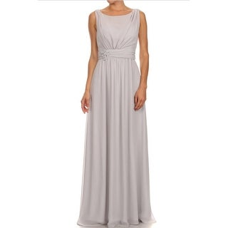Long Sleeveless Ruched Chiffon