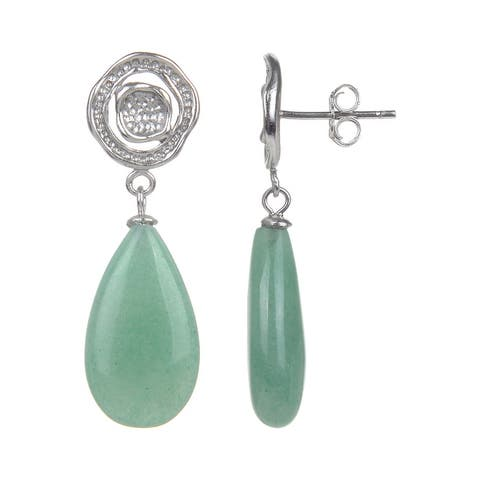 Sterling Silver with Natural Choice Of Gemstone Dangle Earrings