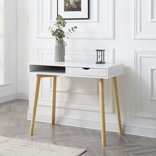 Link to Contemporary White Austin Hardwood Home Office Desk Similar Items in Computer Desks