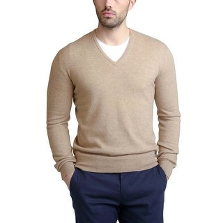 Bloomingdales Mens 2-Ply Cashmere V-Neck Sweater Camel Large L Camel Knitwear