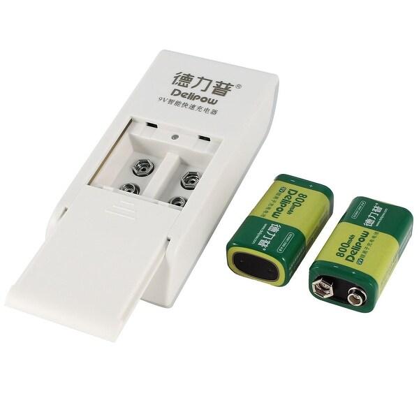 US Plug AC 100-240V LED Indicator Charger White + 2 Pcs 9V Ni-Mh Battery