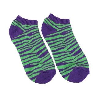 Women`s Purple and Green Zebra Heavy Ankle Socks