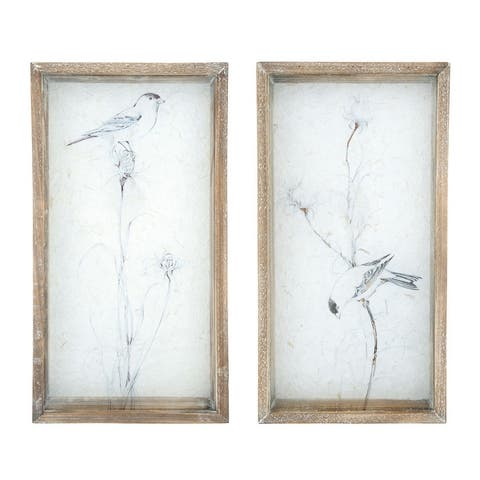 Bird on Glass Wall Decor with Shadowbox Wood Frame (Set of 2 Styles) - Cream