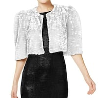 Calvin Klein White Womens Size Small S Faux-Fur Shrug Jacket