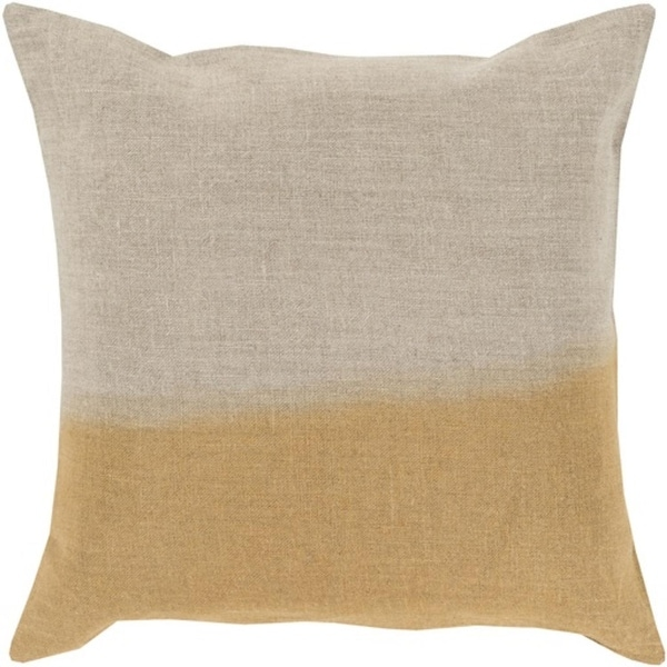"18"" Gold and Gray Dip Dyed Decorative Throw Pillow - Down Filler"