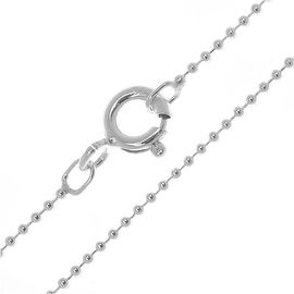 Sterling Silver 1mm Ball Chain With Spring Ring Clasp - 16 Inches
